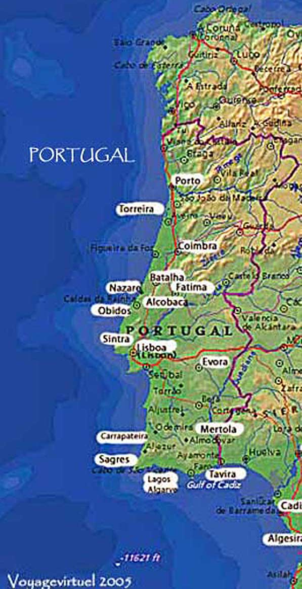 Cartina Di Portogallo.Mappa Fisica Del Portogallo