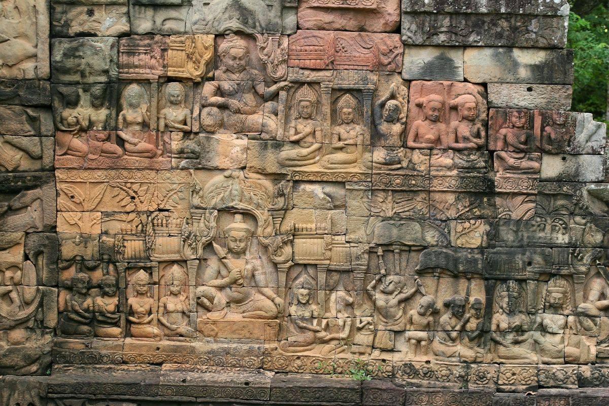 Facciata Nord Della Parete Esterna Khmer Arte Terrazza Del
